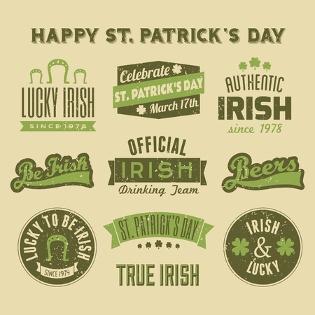 A set of St  Patrick s Day design elements Vector
