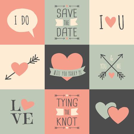 decor graphic: Stile Vintage carte di nozze in rosa pastello, blu e crema Fonts Amatic SC da Vernon Adams e Cardenio Moderna di Nils Cordes Vettoriali