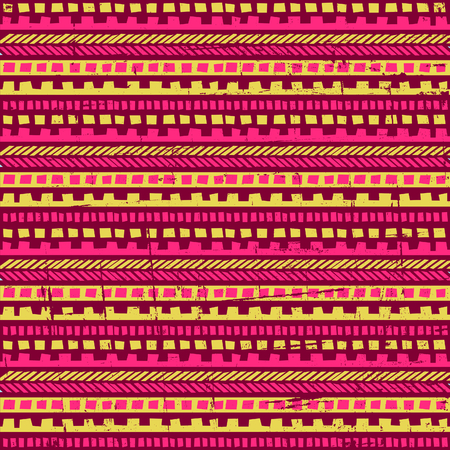 Seamless geometric pattern with ethnic motifs in vibrant pink and yellow colors. Vector