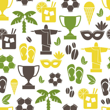 Seamless repeat pattern with Brazilian symbols in green, yellow and brown. Vector