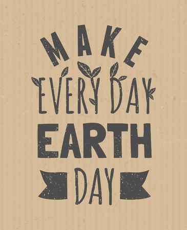 erde: Typografische Gestaltung Poster für Tag der Erde.
