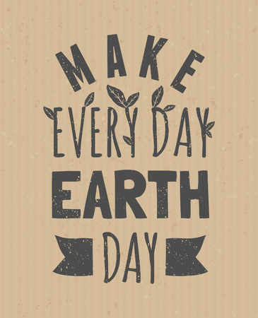 Typographic design poster for Earth Day. Vector