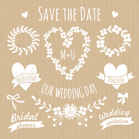 A set of floral design elements, wreaths, ribbons, arrows and hearts in white against cardboard paper background. Vector