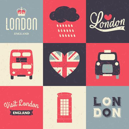 Un conjunto de tarjetas de felicitación del estilo de la vendimia con los símbolos de Londres.