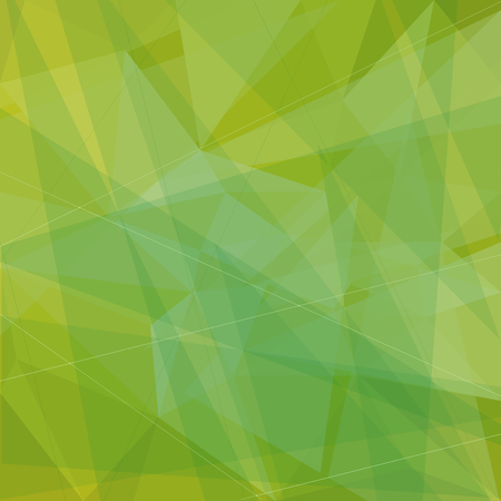 Abstract geometric background with green and yellow triangles. Vector
