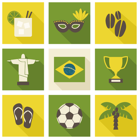 A set of nine flat design Brazil icons isolated on white background. Vector