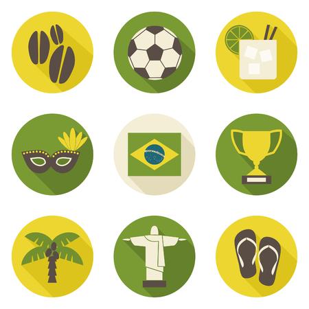 A set of nine flat design Brazil icons isolated on white background. Illustration