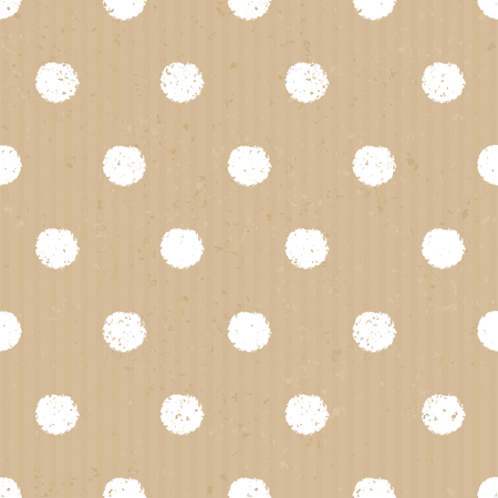 recycled paper: Seamless polka dots pattern in white against cardboard paper background. Illustration