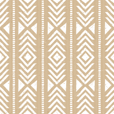 ikat: Seamless tribal aztec pattern in white against cardboard paper background. Illustration