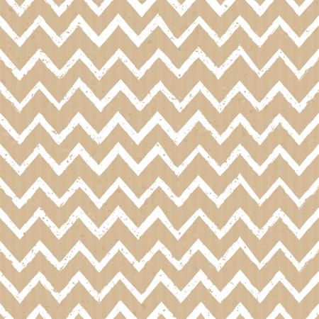 Seamless tribal chevron pattern in white against cardboard paper background. Illustration