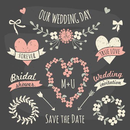 A set of floral design elements, wreaths, ribbons, arrows and hearts in chalkboard style.
