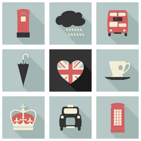 A set of long shadow flat design icons with London symbols. Vector