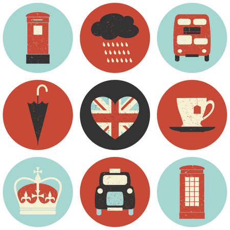A set of nine flat design icons with London symbols isolated on white background. Vector