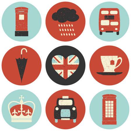british culture: A set of nine flat design icons with London symbols isolated on white background. Illustration
