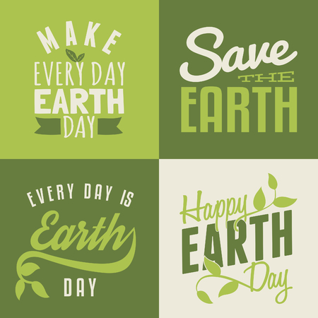A set of four typographic design posters for Earth Day. Vector
