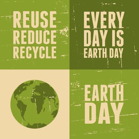 eco slogan: Un conjunto de cuatro carteles para el D�a de la Tierra.