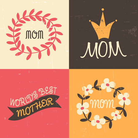 A set of four vintage greeting cards for Mothers Day in pink, white, yellow and brown. Vector