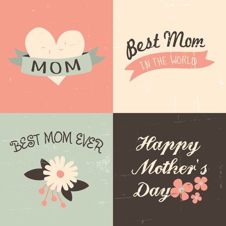 A set of four vintage greeting cards for Mothers Day in pastel pink, white, brown and blue. Vector