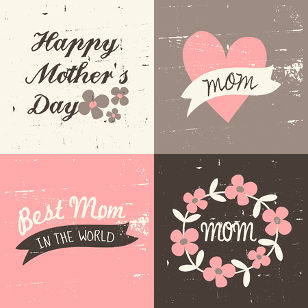 A set of four vintage greeting cards for Mothers Day in pastel pink, white and brown. Vector