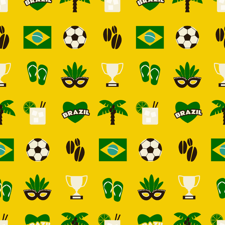 Seamless repeat pattern with Brazilian symbols in yellow, green and brown. Vector