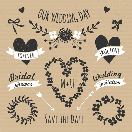 A set of floral design elements, wreaths, ribbons, arrows and hearts in black and white against cardboard paper background. Vector