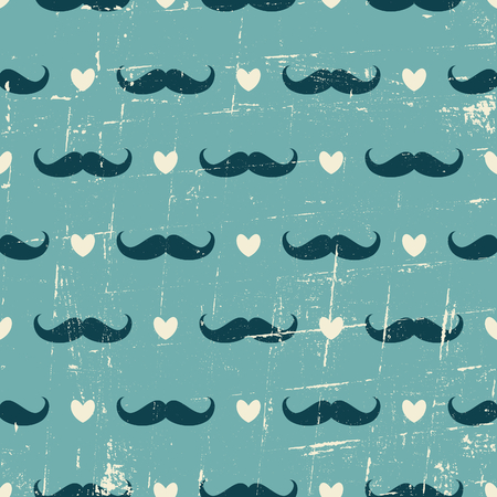 Seamless vintage style pattern with cute mustaches and hearts against blue background. 向量圖像