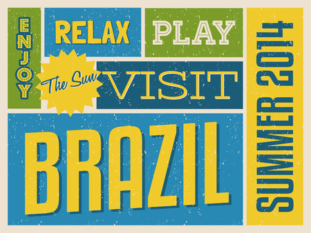 Retro design poster in bright yellow, blue and green, visit Brazil concept. Vector