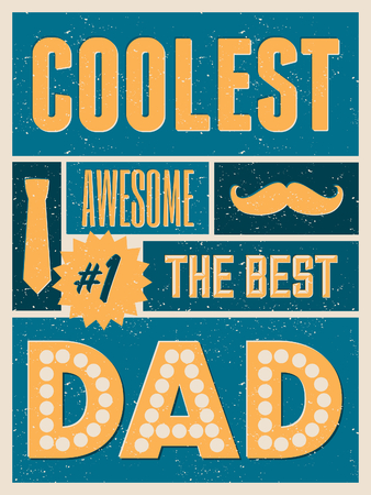 Retro collage design greeting card for Fathers Day. Vector