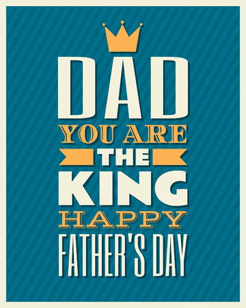 Retro style typographic design greeting card for Fathers Day. Vector