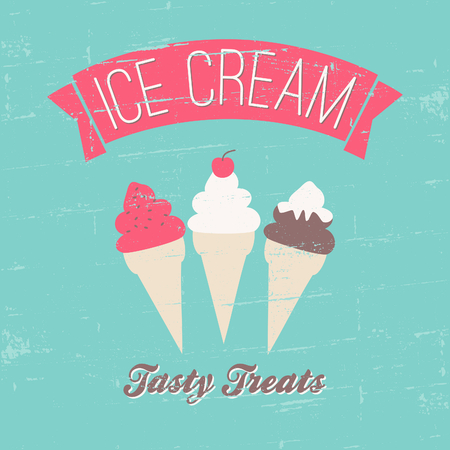 Retro style ice cream poster in blue, pink and brown.