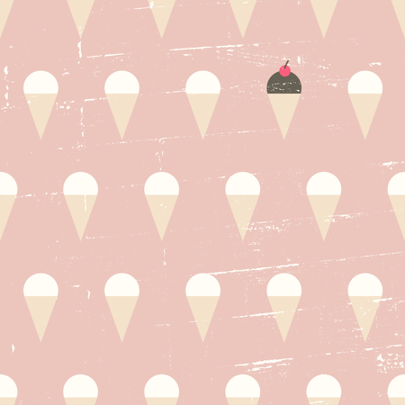 Seamless repeat pattern with ice cream cones in pastel pink, white and brown. Vector