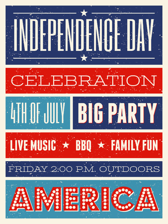 Retro style party flyer for the American Independence Day in red, blue and white. Illustration