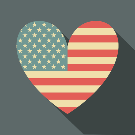 independent day: Flat design long shadow icon with the American flag in the shape of a heart.