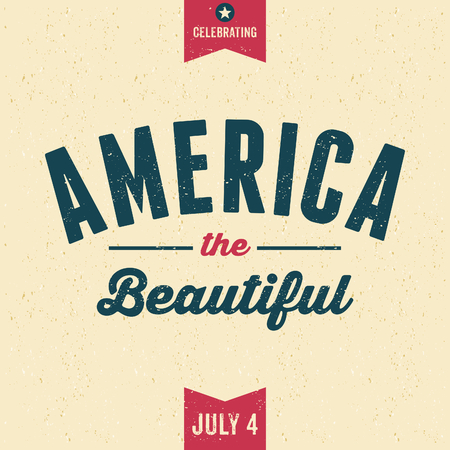 old postcards: Vintage style old paper greeting card for Independence Day. America the Beautiful. Illustration