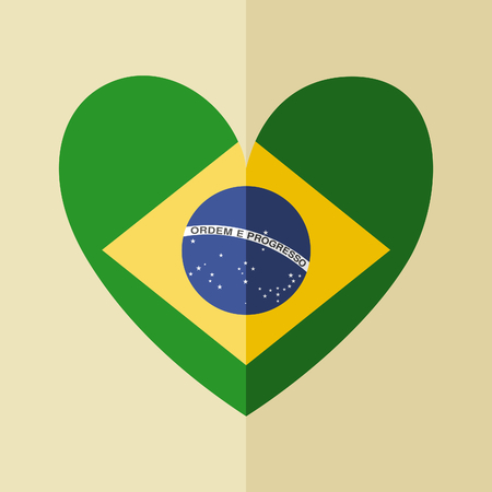 Flat design icon with the Brazilian flag in the shape of a heart. Vector