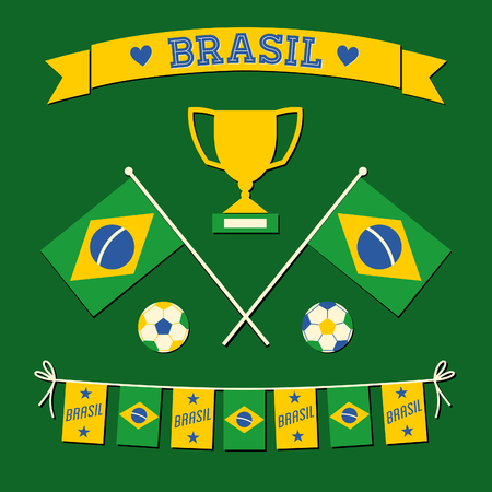 A set of flat design Brazil football icons and symbols in green, white and yellow. Vector