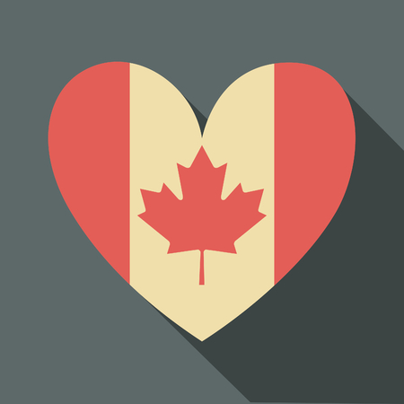 independent day: Flat design long shadow icon with the Canadian flag in the shape of a heart.