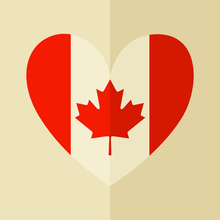 Flat design icon with the Canadian flag in the shape of a heart. Stock Vector - 29601806