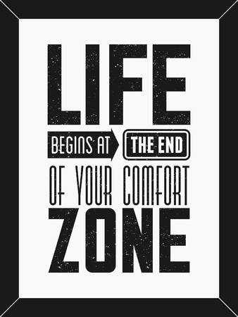 Inspirerende tekst ontwerp minimalistische poster in zwart en wit. Het leven begint aan het eind van je comfort zone.