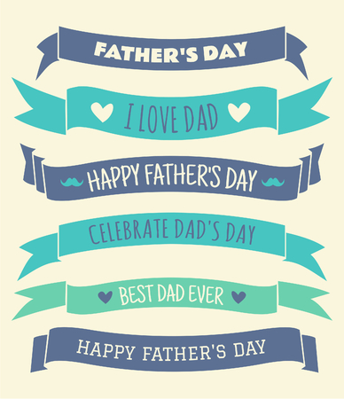 happy fathers day: A set of banners and ribbons for Fathers Day. Illustration