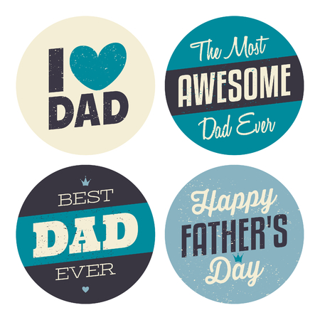 father day: A set of retro style stickers for Fathers Day.