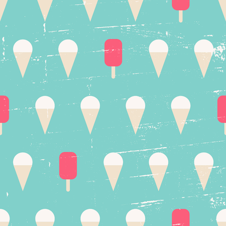 Seamless repeat pattern with ice cream in blue, pink and white. Vector