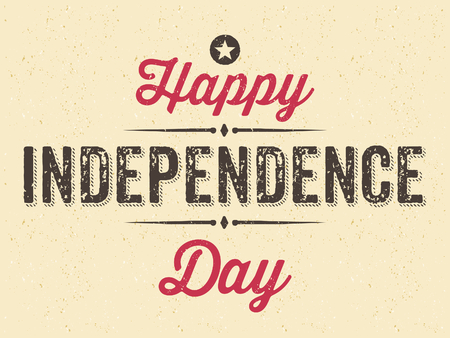 independent day: Vintage style old paper greeting card for the 4th of July. Happy Independence Day.