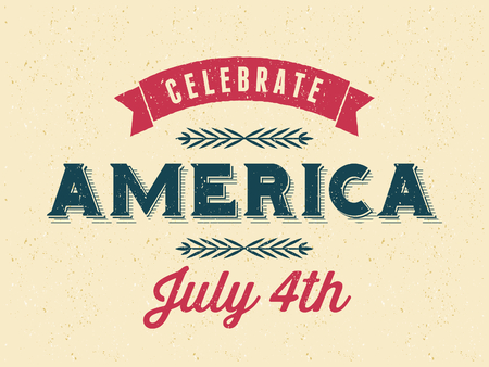 Vintage style old paper greeting card for the 4th of July. Happy Independence Day. Vector