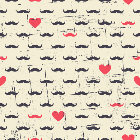Seamless vintage style pattern with cute black mustaches and red hearts. Vector
