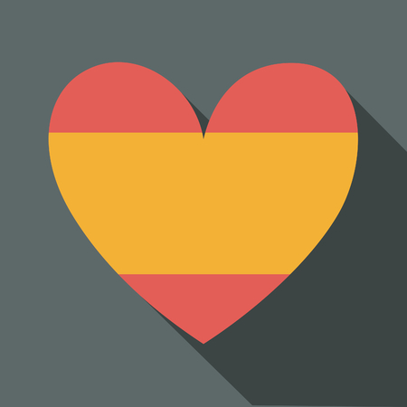 Flat design long shadow icon with the Spanish flag in the shape of a heart. Vector