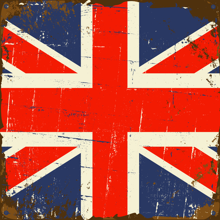 metal sign: Old rusty metal sign with the UK flag.