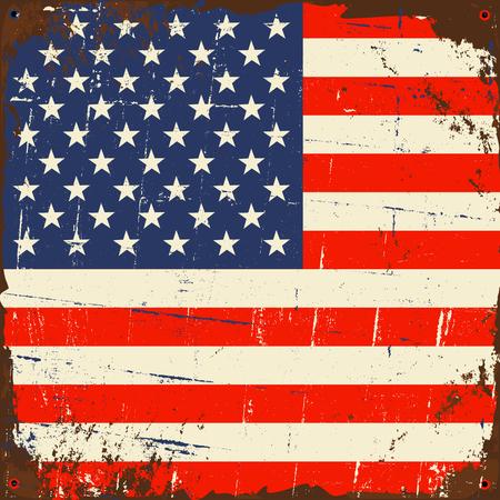 estados unidos bandera: Vieja muestra de metal oxidado con la bandera de EE.UU..