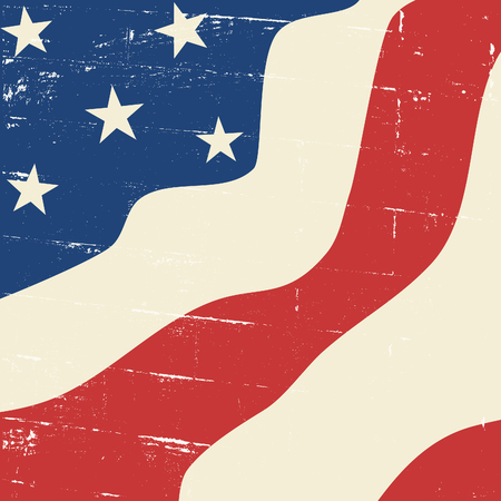 Abstract design vintage distressed US flag.