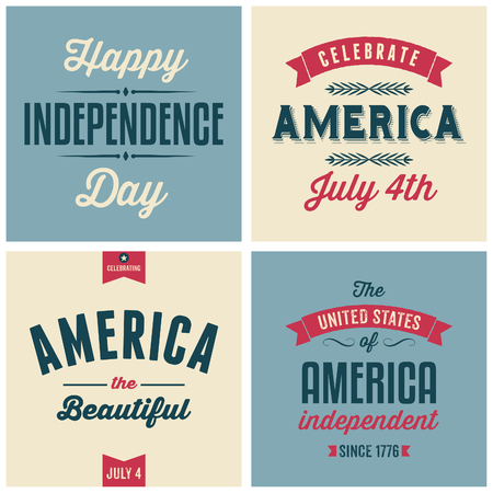 independent day: A set of four vintage design cards for July 4th, Independence Day.